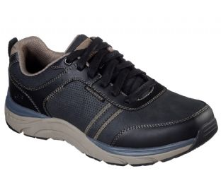 Skechers Mens 66293 BLK Black Relaxed Fit Sentinal Lunder Leather Shoe